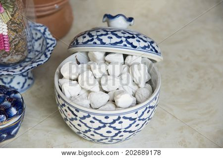 white clay filler or softprepared chalk or clay rich in porcelain cup