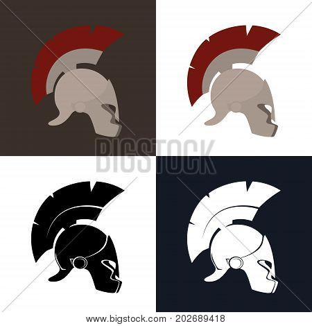Set of Four Kind Greek Helmet , Color and Silhouette Antiques Roman Helmet for Head Protection Legionary with a Crest of Feathers or Horsehair with Slits for the Eyes, Vector Illustration