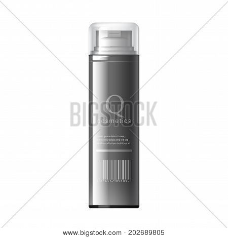 Realistic Black Shaving Foam Aerosol. Cosmetics bottle can Spray, Deodorant, Air Freshener. With lid. Object, shadow, and reflection on separate layers. Vector illustration