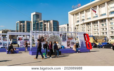 Moscow, Russia - August 31.2017. Exhibition dedicated to the history of the Moscow metro on Turgenevskaya Square