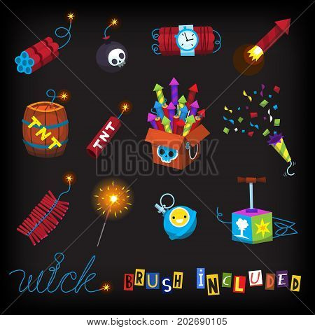 July 4 arsenal of fireworks and bombs. Classic firework rockets firecrackers cartoon bomb with skull missiles and other explosives. Isolated vector images. Includes wick brush.