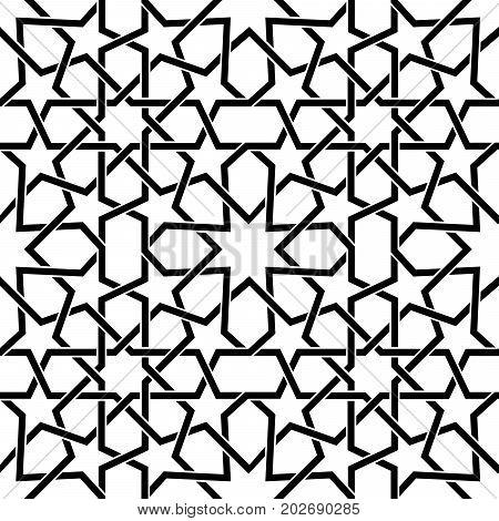 Moroccan tiles vector pattern, Moorish seamless design in black, Geometric abstract tiles