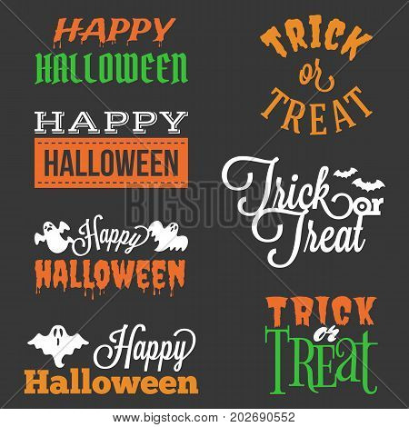 Happy Halloween and trick or treat typographic headline in vary style with elements such as ghost, bats