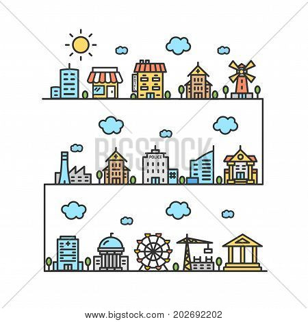 City Street House Building Outline Design Architectural Elements Of The Districts Silhouette Construction Structure. Vector illustration of houses or different buildings