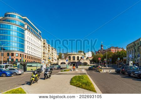 Moscow, Russia - August 31. 2017. General view of Trubnaya Square on a Tsvetnoy Boulevard