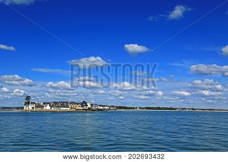Ile-Tudy (Breton: Enez Tudi) Finistere Brittany France - View from Loctudy across the bay