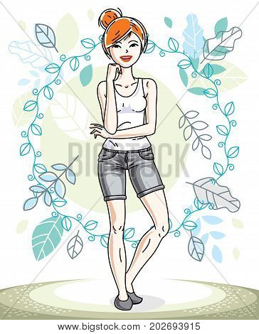 Happy young red-haired woman posing on background of spring landscape and wearing casual clothes. Vector attractive female illustration. Springtime fashion and lifestyle theme cartoon.