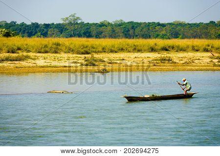 Man Boat Steering Clear River Crocodile Nepal