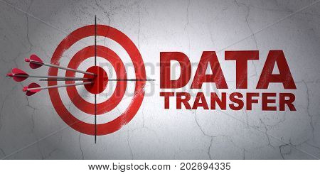 Success Information concept: arrows hitting the center of target, Red Data Transfer on wall background, 3D rendering