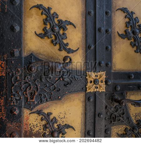 The Old Vintage Door With Handle And Keyhole