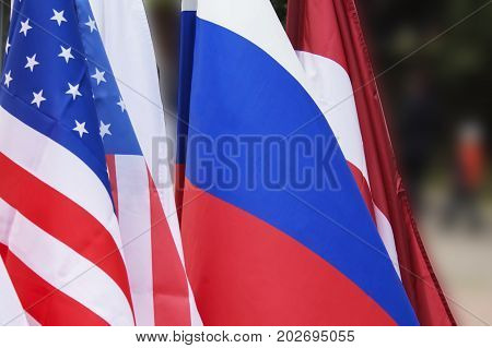 The U.S. flag and the flag of Russia. background. Friendship countries