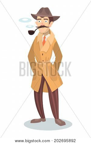Isolated detective with smoking pipe on white background.