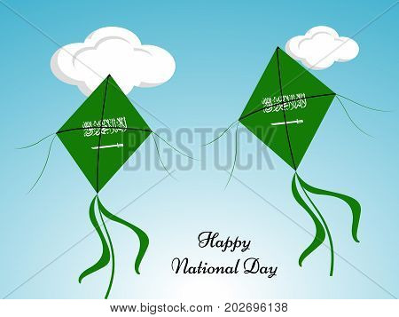 illustration of kites in saudi arabia flag background with Happy National Day text on the occasion of Saudi Arabia National Day