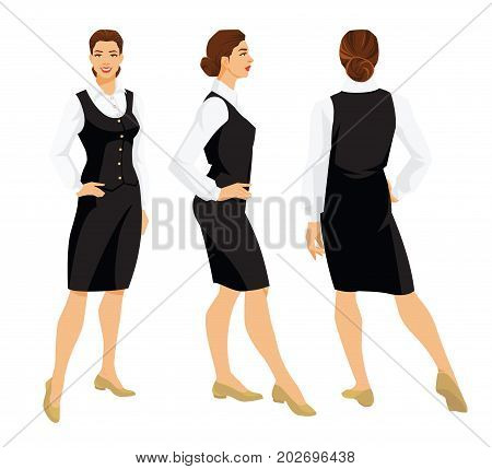 Vector illustration of woman in formal black skirt, vest, white blouse and shoes on flat heel on white background. Various turns woman's figure. Front view and back view.