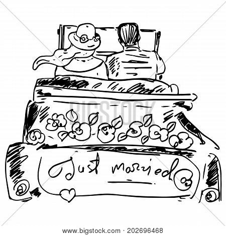 Just married graphic illustration. Man and woman in the car with text
