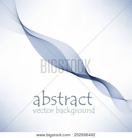 Abstract color wave design element. Blue wave. Abstract vector background, blue transparent wavy lines. Blue smoke wave.