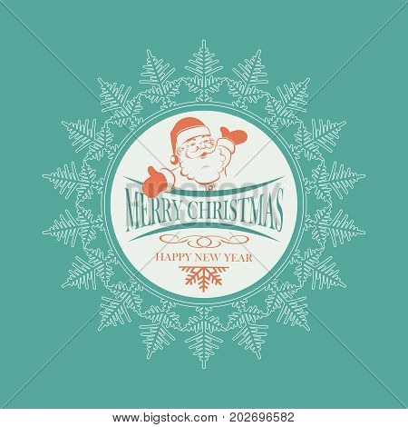 Christmas emblem with Santa Claus with arms apart inside a white delicate snowflake