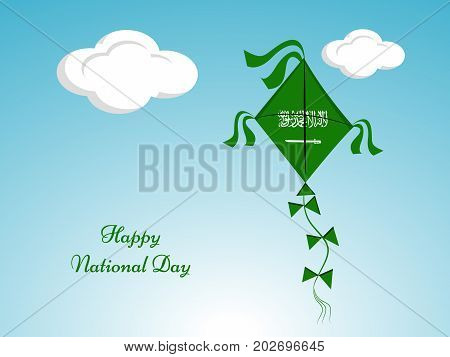 illustration of kite in saudi arabia flag background with Happy National Day text on the occasion of Saudi Arabia National Day