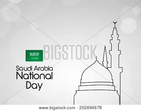 illustration of mosque and makkah clock Tower background with Saudi Arabia National Day text on the occasion of Saudi Arabia National Day