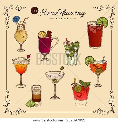 Alcoholic drinks colored collection of cocktails and stemware with decorative frame on beige background isolated vector illustration