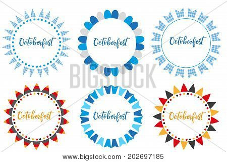 Oktoberfest set of frames, flat or cartoon style. October fest in germany collection of round bunting, flag, design elements .Isolated on white background. Vector illustration