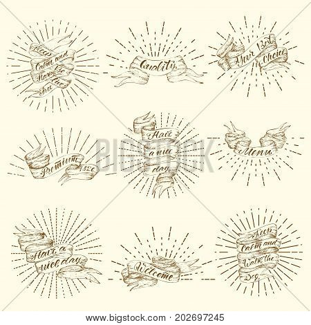 Vintage ribbon banners set with sunbursts and different inscriptions in hand drawn style isolated vector illustration