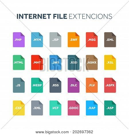 Flat style icon set. Internet, web file type, extencion. Document format. Pictogram. Web and multimedia. Computer technology.