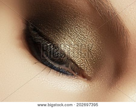 Close Up View Of Blue Woman Eye With Beautiful Golden Shades Makeup. Classic Make Up. Perfect Shape