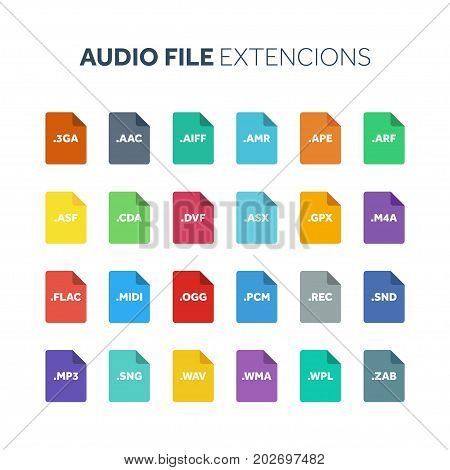 Flat style icon set. Audio, song, voice recording file type, extencion. Document format. Pictogram. Web and multimedia. Computer technology.