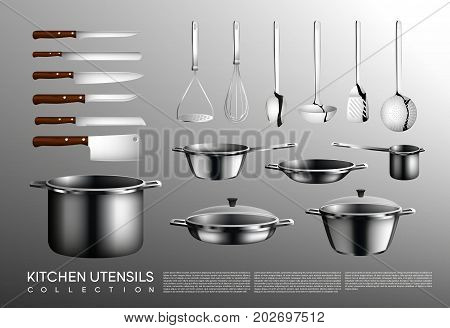 Realistic kitchen utensil collection with cooking tools different knives saucepan pan and pots isolated vector illustration