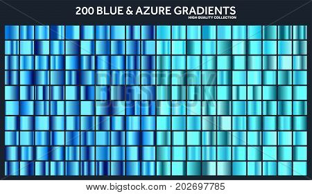Blue, azure chrome gradient set, pattern, template.Water, sky colors for design, collection of high quality gradients.Metallic texture, shiny metal background.Suitable for text , mockup, banner, ribbon