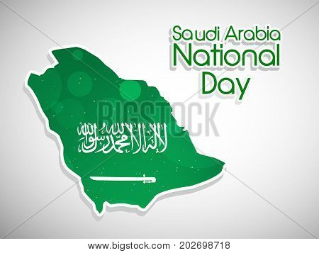 illustration of Saudi Arabia Map in Saudi Arabia flag background with Saudi Arabia National Day text on the occasion of Saudi Arabia National Day