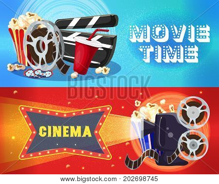 Bright cinema horizontal banners with film reel popcorn soda tickets clapperboard movie camera filmstrip vector illustration