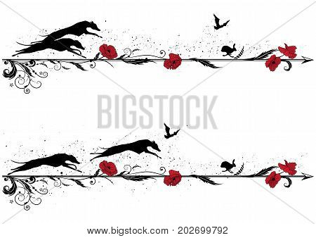 set of vector dividers with dogs rabbit riven and poppy in red black and white