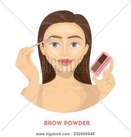 Applying brow powder. Woman does make up.