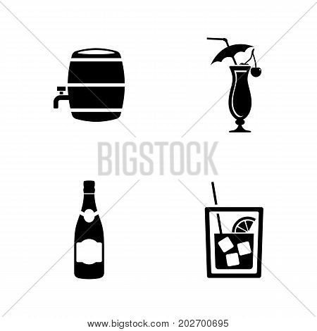 Wine. Simple Related Vector Icons Set for Video, Mobile Apps, Web Sites, Print Projects and Your Design. Black Flat Illustration on White Background.