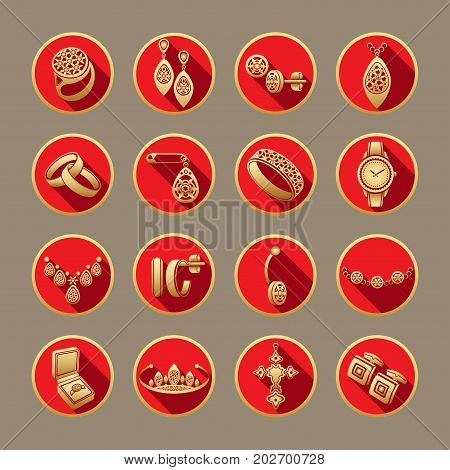 Set Icons Jewelry In Vector. Gold Flat Icons In A Red Round Frame With A Shadow