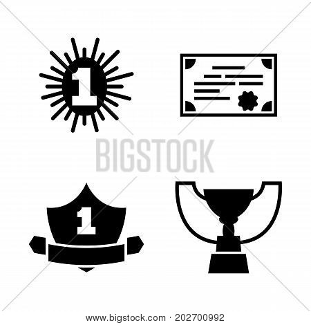 Award Winner. Simple Related Vector Icons Set for Video, Mobile Apps, Web Sites, Print Projects and Your Design. Black Flat Illustration on White Background.