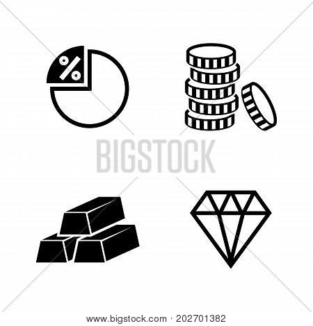 Finance and Banking. Simple Related Vector Icons Set for Video, Mobile Apps, Web Sites, Print Projects and Your Design. Black Flat Illustration on White Background.