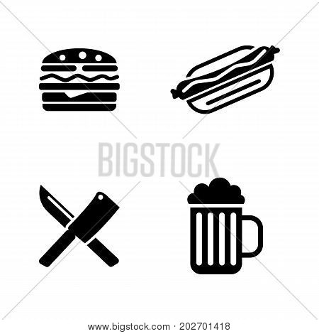 Picnic Cooking. Simple Related Vector Icons Set for Video, Mobile Apps, Web Sites, Print Projects and Your Design. Black Flat Illustration on White Background.