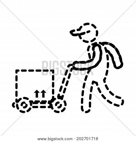 delivery man with handcart and box icon over white background vector illustration