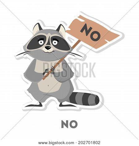 Isolated refusing raccoon on white background. Funny cartoon emoji.