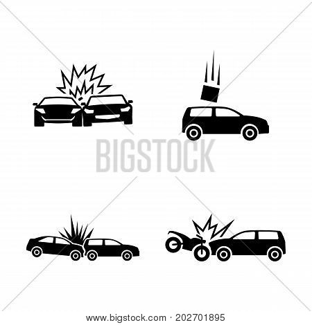 Car Crash. Simple Related Vector Icons Set for Video, Mobile Apps, Web Sites, Print Projects and Your Design. Black Flat Illustration on White Background.