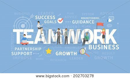 Teamwork illustration cocnept. Idea of business, success and motivation.