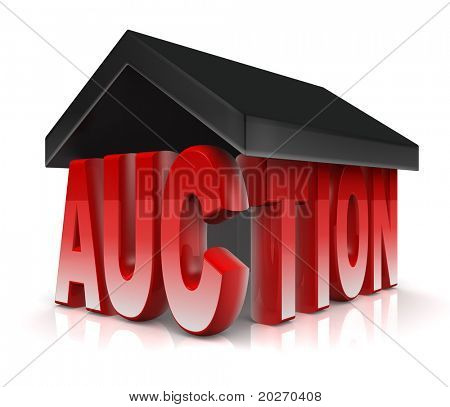 Auction word with a roof property acution concept 3d illustration