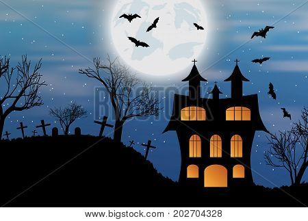 Halloween background with castle, bats and big moon. Vector illustration