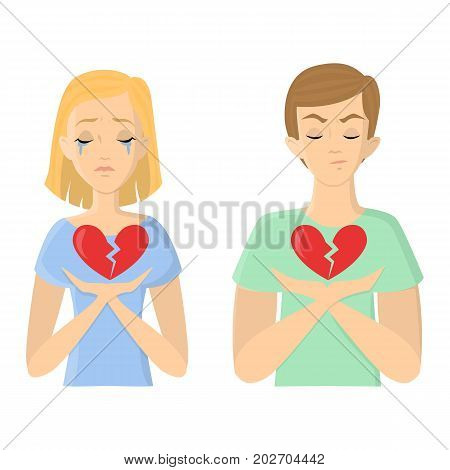 Unhappy love concept. Man and woman with broken hearts.