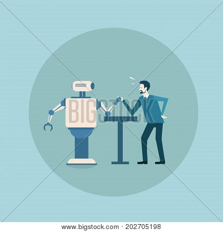 Modern Robot Playing Arm Wrestling With Man Concept Futuristic Artificial Intelligence Mechanism Technology Flat Vector Illustration