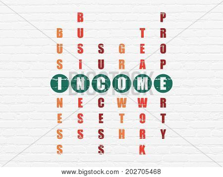 Business concept: Painted green word Income in solving Crossword Puzzle