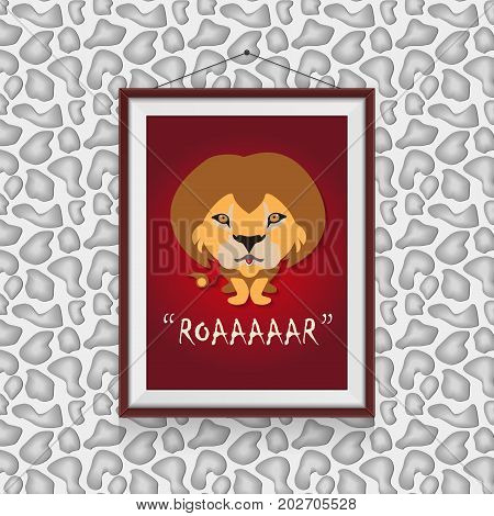 Roar like a lion - cute lion scene in photo frame hanged on the wall